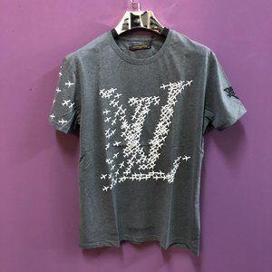 Louis Vuitton Men White Print Gray T-Shirt NWT100%